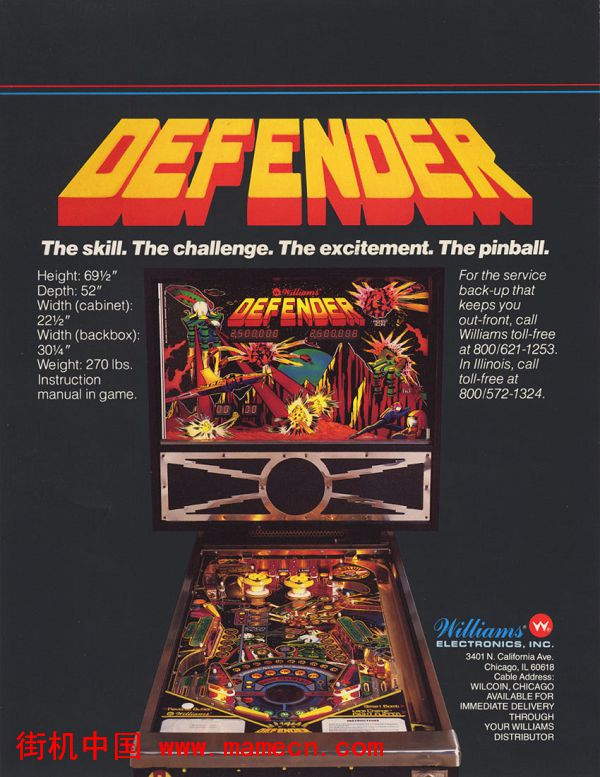 1982年Williams出品防卫者弹珠台Defender(Pinball)街机游戏海报